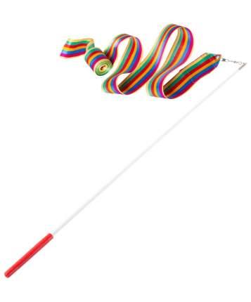 Гимнастическая лента Amely AGR-201 с палочкой 56 см, 6 м, радуга