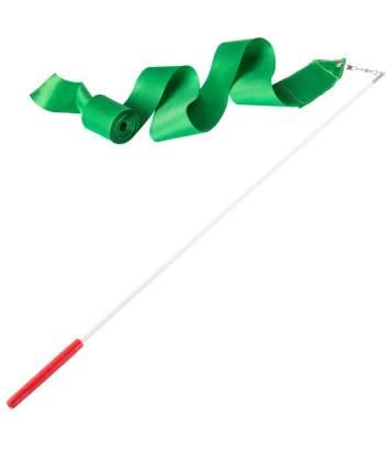Гимнастическая лента Amely AGR-201 с палочкой 46 см, 4 м, зеленая