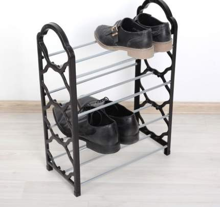 Полка для обуви 4 яруса, черный, 42 x 19,5 х 58 см