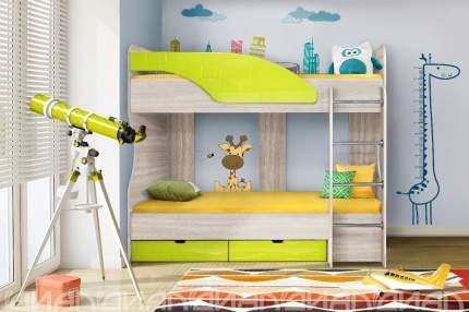 Диал Двухъярусная кровать Бриз-5 80х190 (лайм квадрат)