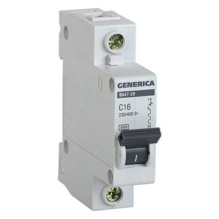 Автоматический выключатель IEK GENERICA ВА47-29 1Р 16А 4,5кА (С)