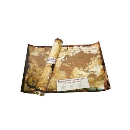 Скретч карта мира А1 со стираемым слоем (85*60см) в тубусе