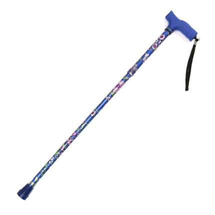 Трость опорная регулируемой длины складная WELT-KP с ремешком цвет синий с цветами