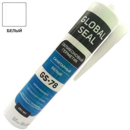 Герметик силиконовый санитарный для ванной и кухни GLOBAL SEAL GS-78, белый, 280 мл