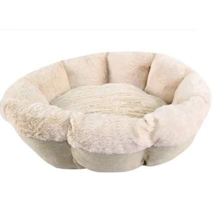 Лежанка для кошки, собаки Pet Choice искусственный мех, текстиль 60x60x17см бежевый