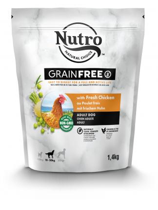 Сухой корм для собак NUTRO Grain Free, курица, розмарин, 1.4кг
