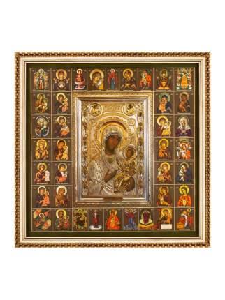 """Икона Божией Матери """"Иверская"""" и Собор Богородицы в раме 28х28 Духовный наставник"""