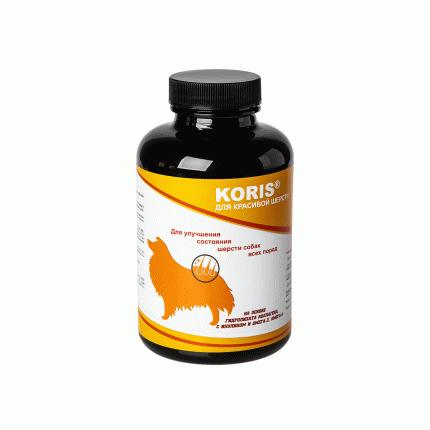 Пищевая добавка для собак Koris, для красивой шерсти (180 таб.)