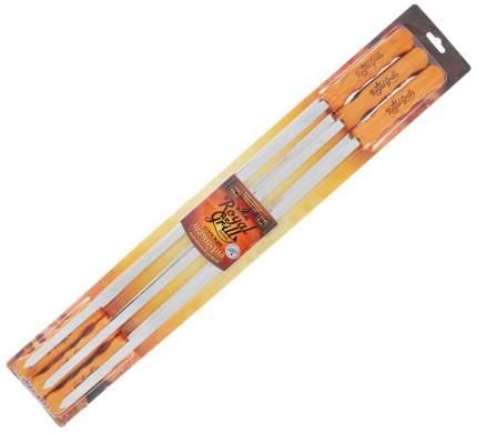 Набор плоских шампуров с деревянной ручкой, 6 шт., длина 60 см, ROYALGRILL™ (80-059)