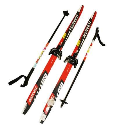 Лыжный комплект (лыжи + палки + крепления) 75 мм 110 СТЕП Peltonen sonic red