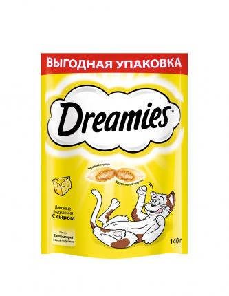 Лакомство для кошек Dreamies, подушечки с сыром,  140г