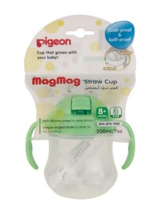 Поильник Pigeon MagMag с трубочкой 200мл, зеленый