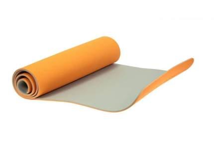 Коврик для йоги двухслойный, оранжевый, серый, 183x61x0,6 см, TPE