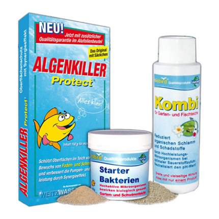Набор Стартовые бактерии + Комби + Алгенкиллер для ухода за прудом объемом до 10 м3