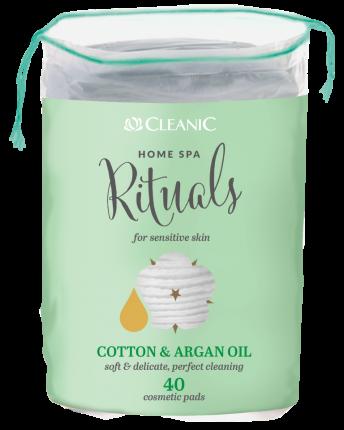 Ватные диски CLEANIC HOME SPA RITUALS Cotton & Argan Oil овальные п/э с веревочкой 40шт
