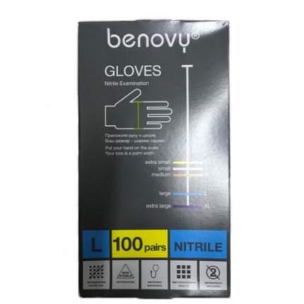 Перчатки медицинские Benovy MNFT003B30/l/голубой 100 пар