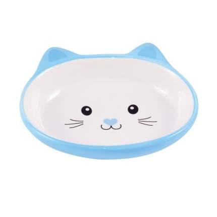 КерамикАрт миска керамическая для кошек в форме мордочки голубая 160 мл