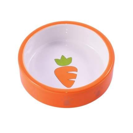 КерамикАрт миска керамическая для грызунов с морковкой оранжевая 70 мл