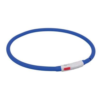 Trixie мигающее кольцо для собак USB, силикон, XS–XL: 70 см/ф 10 мм, королевский синее
