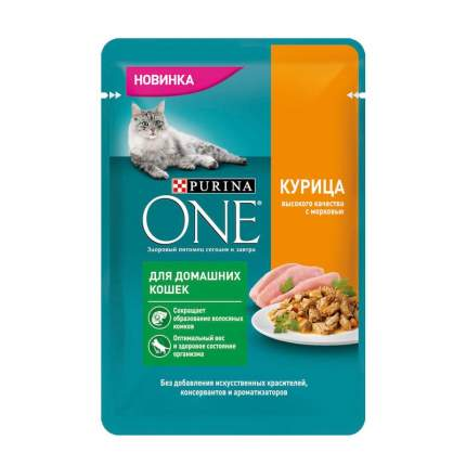 Purina ONE влажный корм для домашних кошек с курицей и морковью в паучах 75 г 26шт