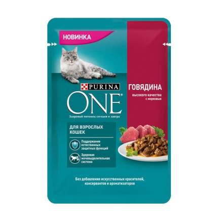 Purina ONE влажный корм для взрослых кошек с говядиной и морковью в паучах 75 г 26шт