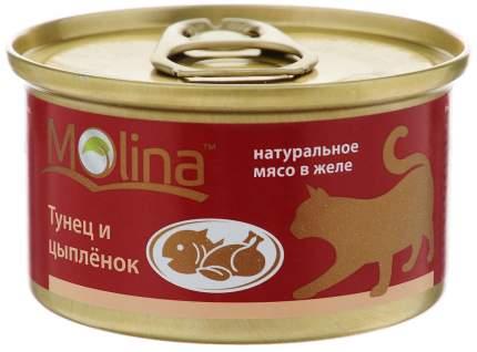 Консервы для взрослых кошек Molina с тунцом и цыпленком в желе 80 г 12шт