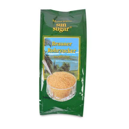 Сахар тростниковый Mauritius коричневый кристаллический 500 г пакет Германия