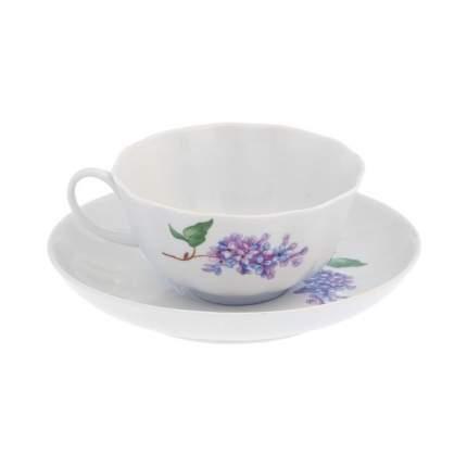 Чашка чайная с блюдцем Дулево, Тюльпан Сирень (эконом), 220 мл., фарфор