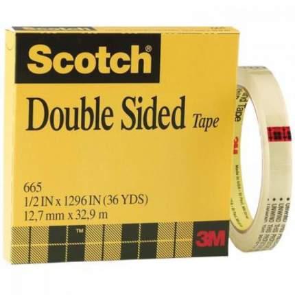 Лента двусторонняя клейкая Scotch 665 в коробочке, 12,7 мм х 33м