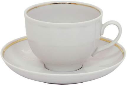 Чашка чайная с блюдцем Дулево, Гранатовый Отводка золотом, 275мл., фарфор