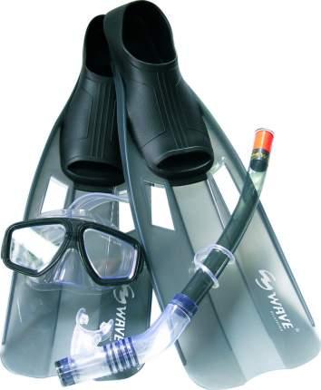 """Комплект для плавания Wave """"MSF-1314S6F35"""", маска+трубка+ласты, размер 38-41, цвет: черный"""
