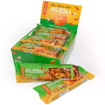 """Мюсли батончик CHIKALAB Muesli """"Миндаль-солёная карамель"""" (коробка, 12 штук по 40 гр)"""
