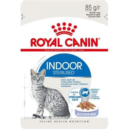 Влажный корм для кошек ROYAL CANIN Indoor Sterilised, кусочки мяса в желе, 12шт, 85г