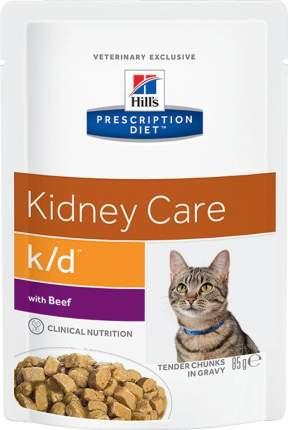 Hills Prescription Diet k/d Kidney Care влажный корм для кошек с говядиной 85г 12шт