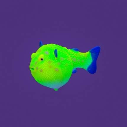 Gloxy флуоресцентная аквариумная декорация рыба шар на леске, желтая 8х5х5,5 см