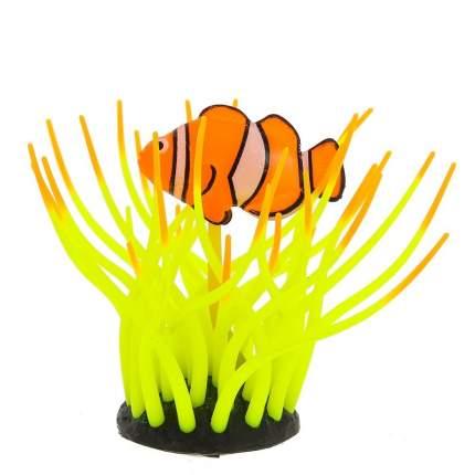 Gloxy флуоресцентная аквариумная декорация рыба клоун в анемоне, желтая 11х8х12 см