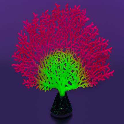 Gloxy флуоресцентная аквариумная декорация коралл веерный, розовый 13,5х3х16 см