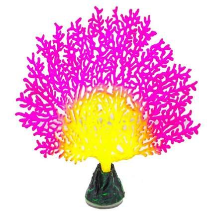 Искусственный коралл Gloxy Коралл веерный, флуоресцентный, розовый, 13.5х3х16 см