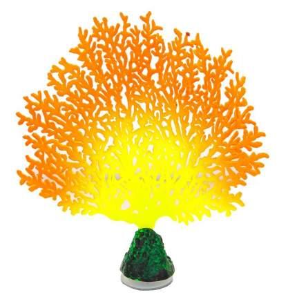 Gloxy флуоресцентная аквариумная декорация коралл веерный, оранжевый 13,5х3х16 см
