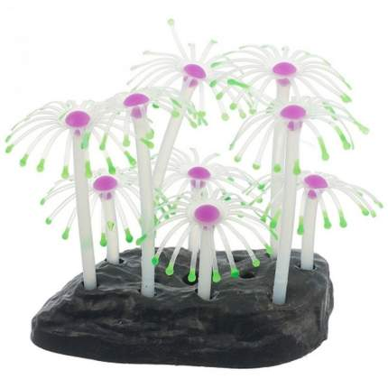 Искусственный коралл Gloxy Анемон, флуоресцентный, розовый, 8.5х9.5х7 см