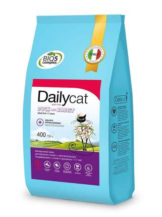 Dailycat Grain Free Adult сухой беззерновой корм для кошек с уткой и кроликом 400 г