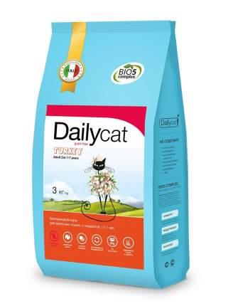 Dailycat Grain Free Adult сухой беззерновой корм для взрослых кошек с индейкой 3 кг