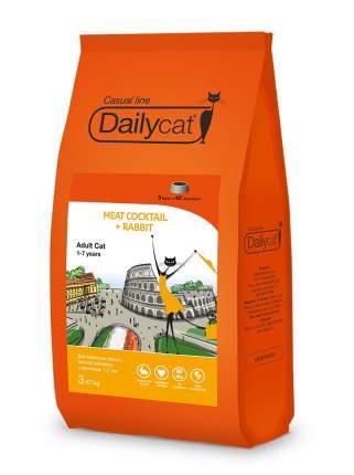 Dailycat Casual Line сухой корм для кошек мясной коктейль с кроликом 3 кг
