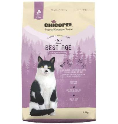 Chicopee CNL Cat Senior Best Age сухой корм для пожилых кошек с птицей 1,5 кг
