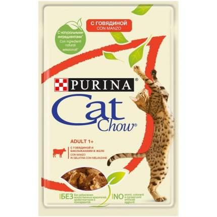 Влажный корм для кошек Cat Chow Нет, говядина, баклажан, 24шт, 85г