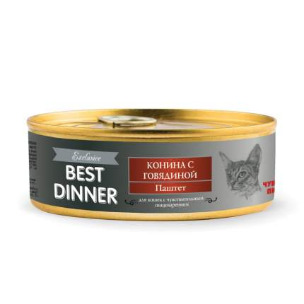 Консервы для кошек Best Dinner Exclusive проблемах пищеварения конина говядина 100г 24шт