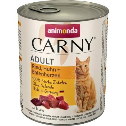 Влажный корм для взрослых кошек Animonda Carny с говядиной, курицей и уткой 800 г 6шт
