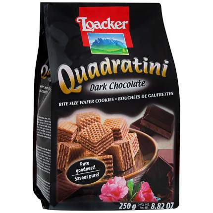 Вафли «Квадратини» темный шоколад, Loacker, 250 г, Италия