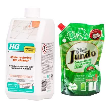 HG средство д/напольной плитки + концентрат д/посуды Jundo Green tea Mint 800 мл