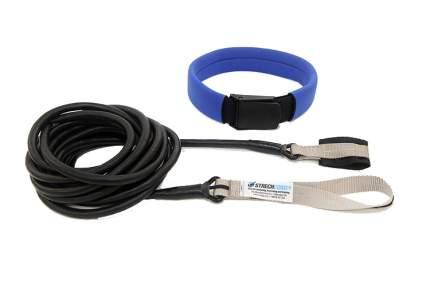 Пояс для плавания с сопротивлением StrechCordz Long Belt Slider, 6 м, черный, серый